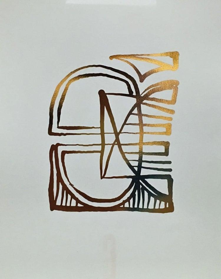 """No. 12   // 8.5"""" x 11"""" // Gold Foil on Pistachio"""