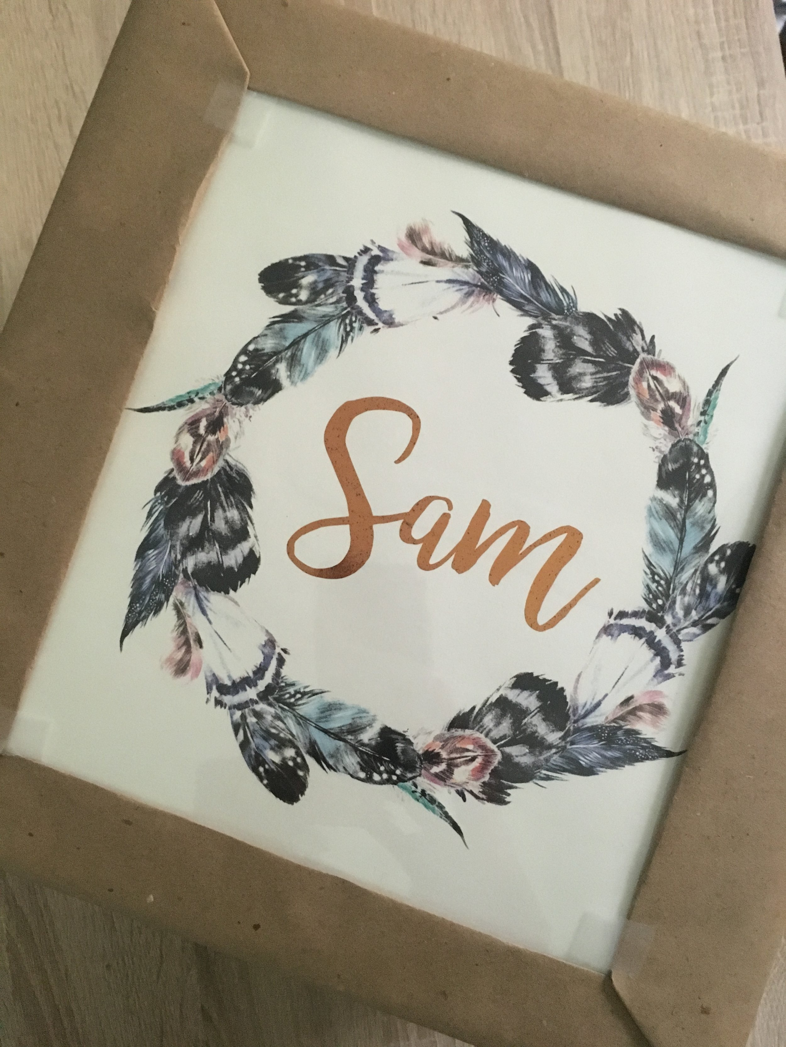 """Feather Wreath   // 8.5"""" x 11"""" // Bronze Foil on Ivory"""