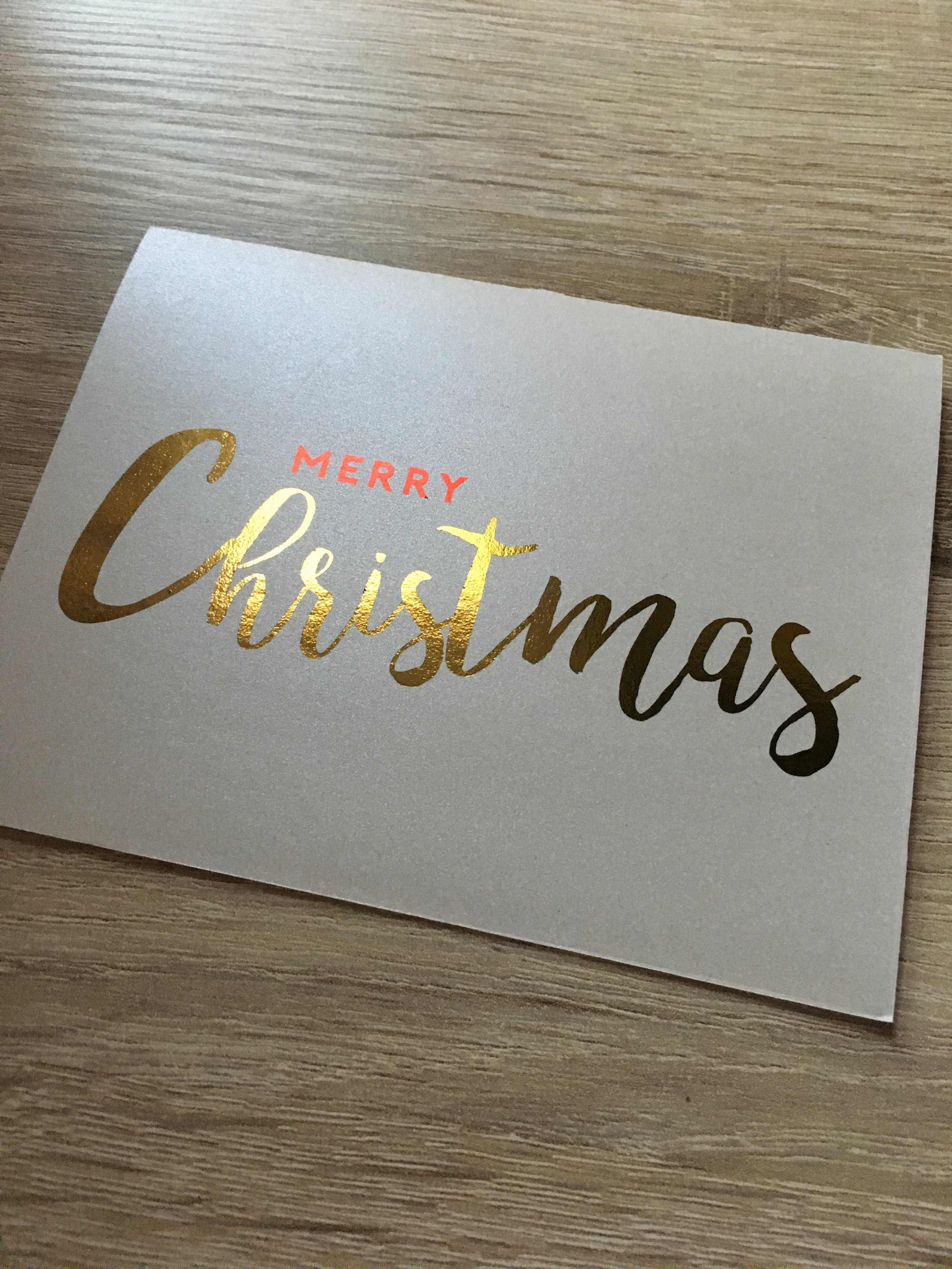 Merry Christmas   // Red + Gold Foil on Shimmer
