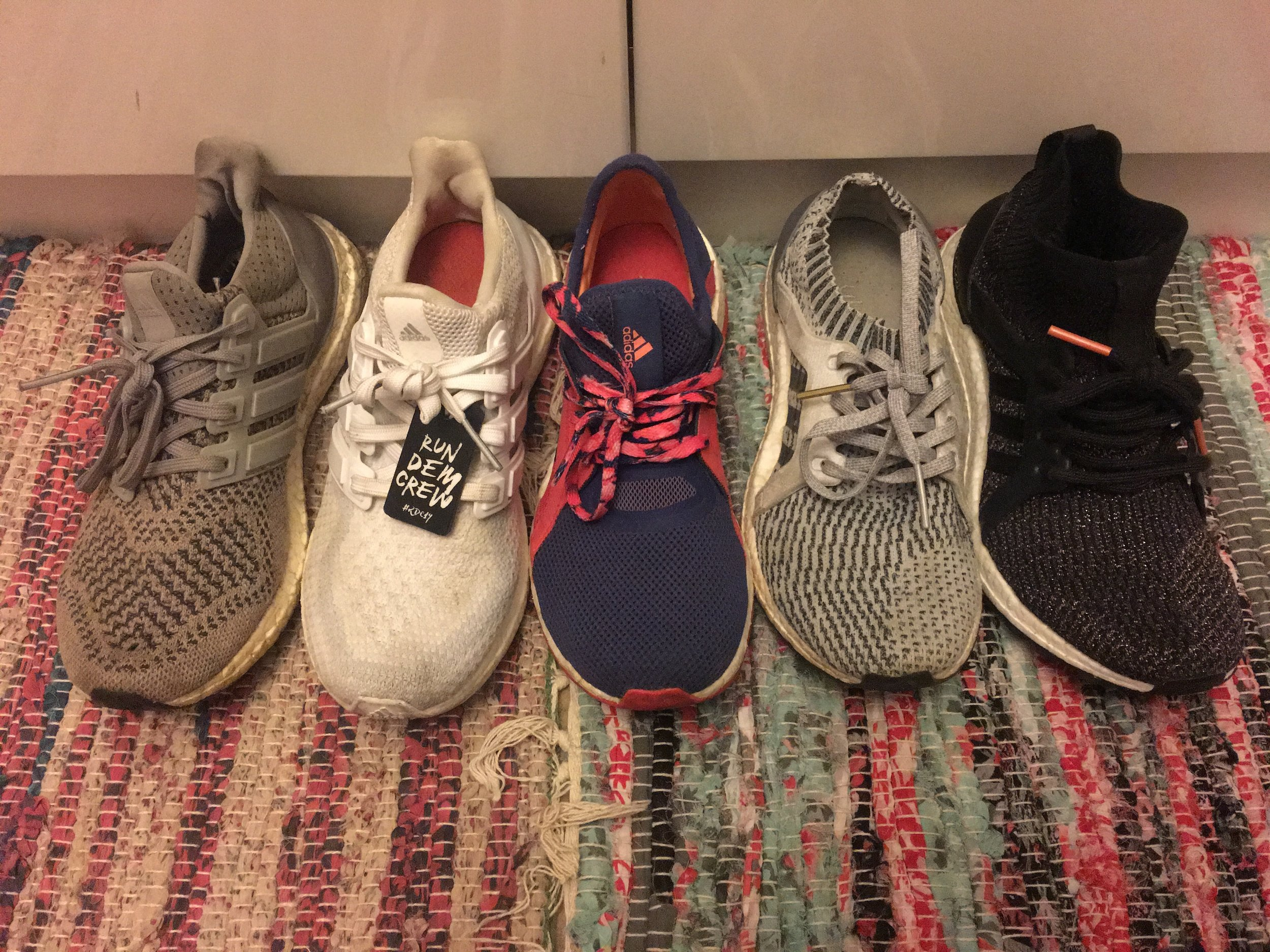 My UltraBOOST collection (left to right): UltraBOOST 1.0 Grey, UltraBOOST 2.0 Triple White, Pure BOOST X, UltraBOOST Uncaged, UltraBOOST X All-Terrain