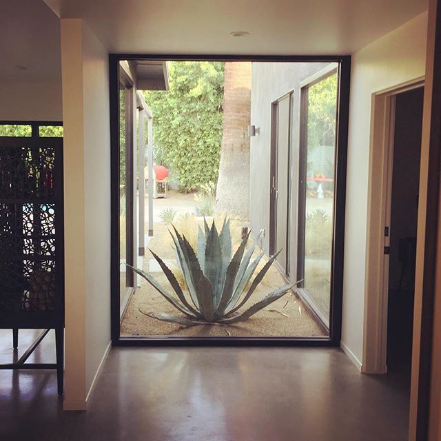 This garage vestibule is a great way to be welcomed home. Why should the front entry get all the attention?! . . . . . #garageentry #foyer #garage #mcmrenovation #palmspringsmodernism @western_window_systems @aciflooringsystems