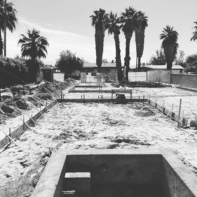 Sometimes a tight infill site means you have to do things a little differently; we had to install the pool and hot tub before the house was started on this #palmsprings project because the clearances were so tight. #infilldevelopment #tightspaces #orderofoperations #dreampool