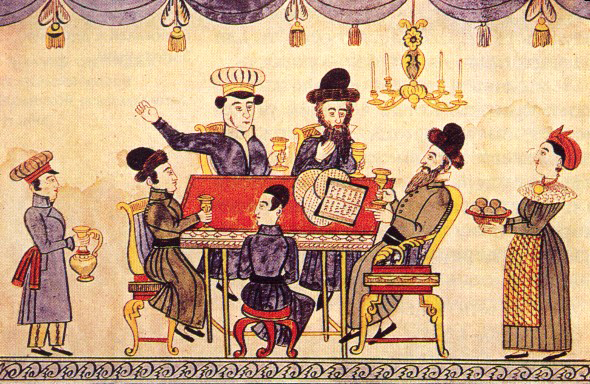 Jews Celebrating Passover. Lubok, XIXth century. By anonymous folk artist [Public domain], via Wikimedia Commons.