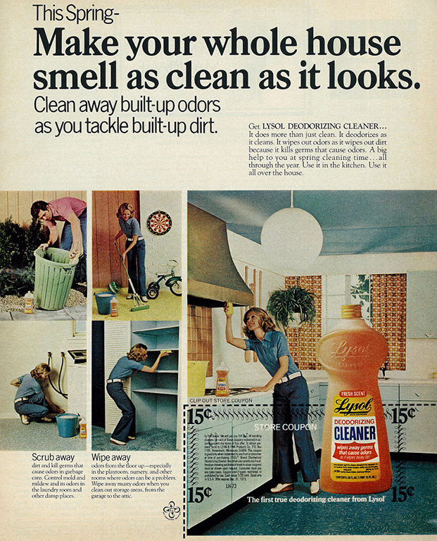 Lysol Fresh Scent Deodorizing Cleaner ad, published in Ladies Home Journal, April 1973.  From Classic Film via Flickr.