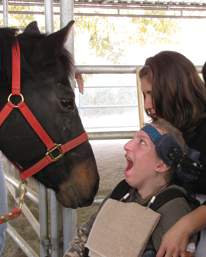 Zach interacts with Sasha the horse.