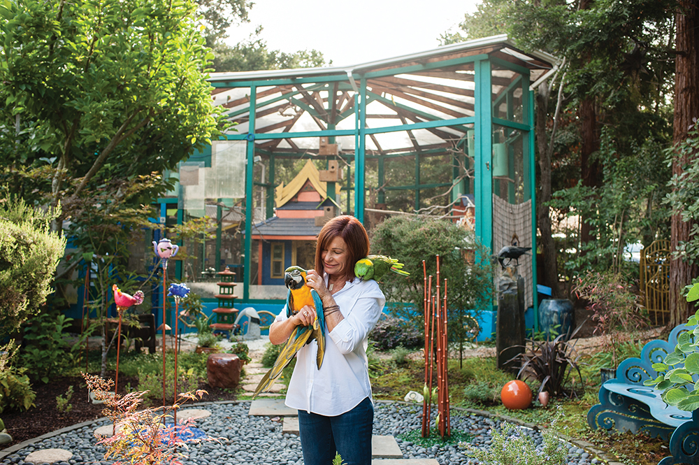 Michele Raffin holds Tico, a blue and gold macaw, while Shana, a yellow-naped Amazon parrot, perches on her shoulder.