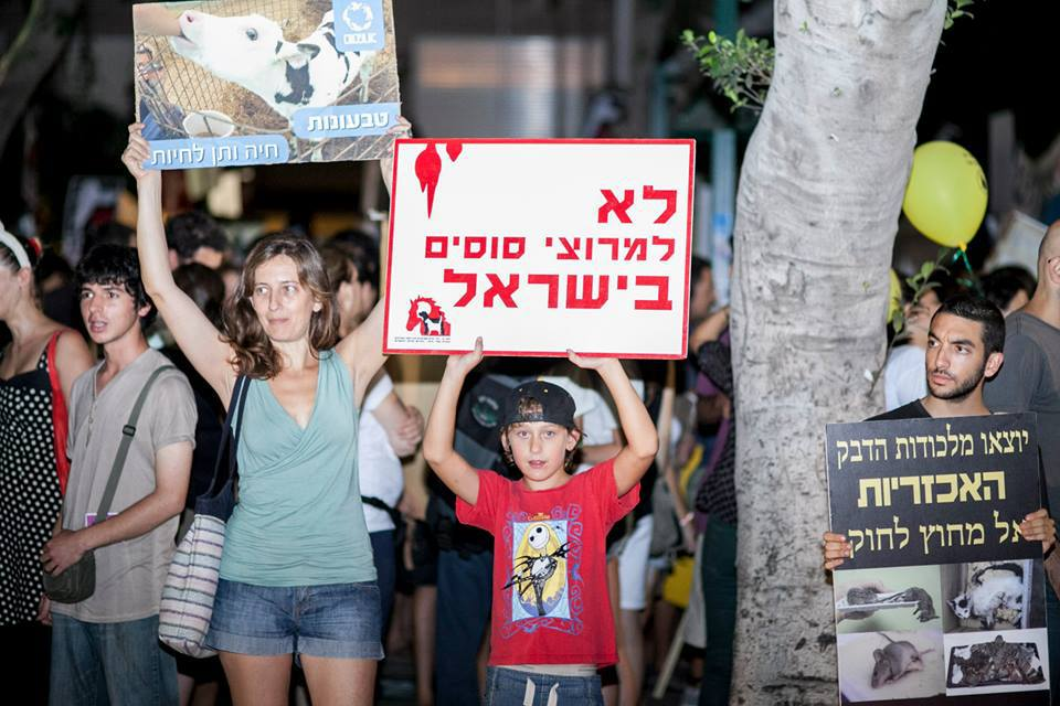 Protesters at the Earthlings - No Longer Blind to Injustice - International March for Animal Liberation in Tel Aviv.