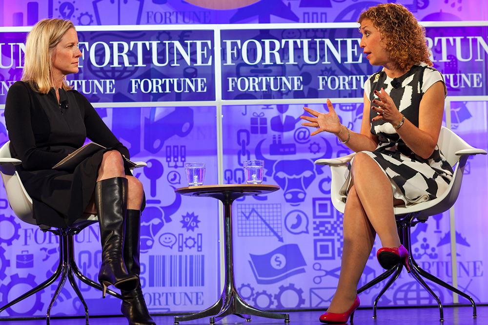 Debbie Wasserman Schultz is interviewed by Kristin van Ogtrop, managing editor of Real Simple, at the Fortune Most Powerful Women Summit in October 2013. Photo by Danuta Otfinowski, via  Fortune Live Media, via Flickr.