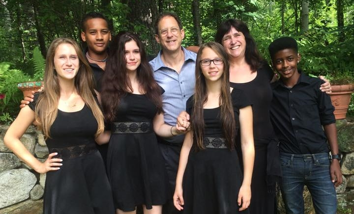 Susan Silverman and husband Yosef Abramowitz surrounded by their children, who range in age from 12 to 22. Their two sons were adopted in Ethiopia.