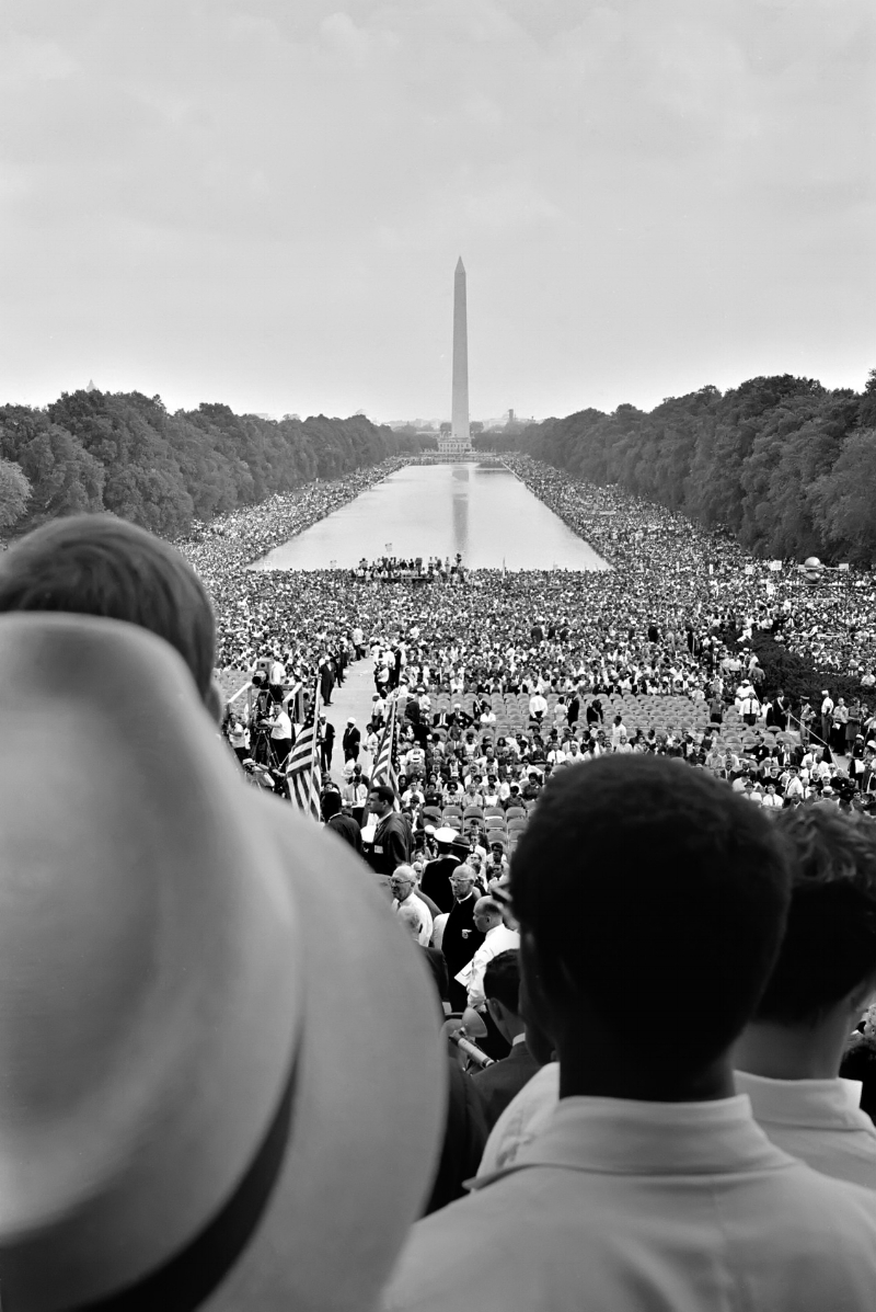 Photo by Warren K. Leffler Crowds surrounding the Reflecting Pool, during the 1963 March on Washington.