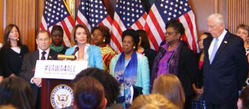 (left to right) JWI CEO Lori Weinstein, standing alongside Representatives Jerrold Nadler, Leader Pelosi, and Representatives Sheila Jackson Lee, Gwen Moore, and Steny Hoyer at last week's press conference introducing VAWA 2018.