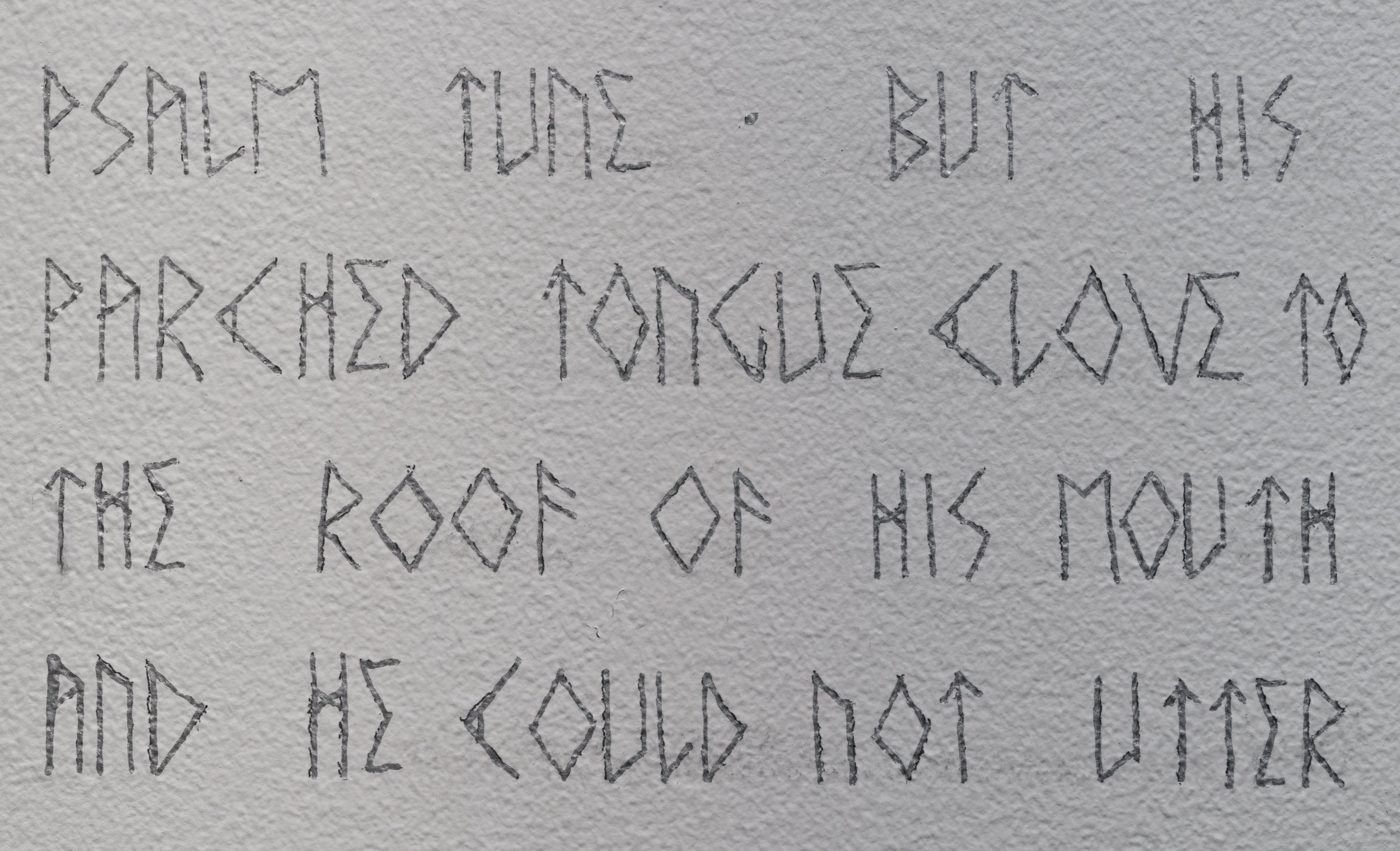 Wall text in artist typeface (detail)