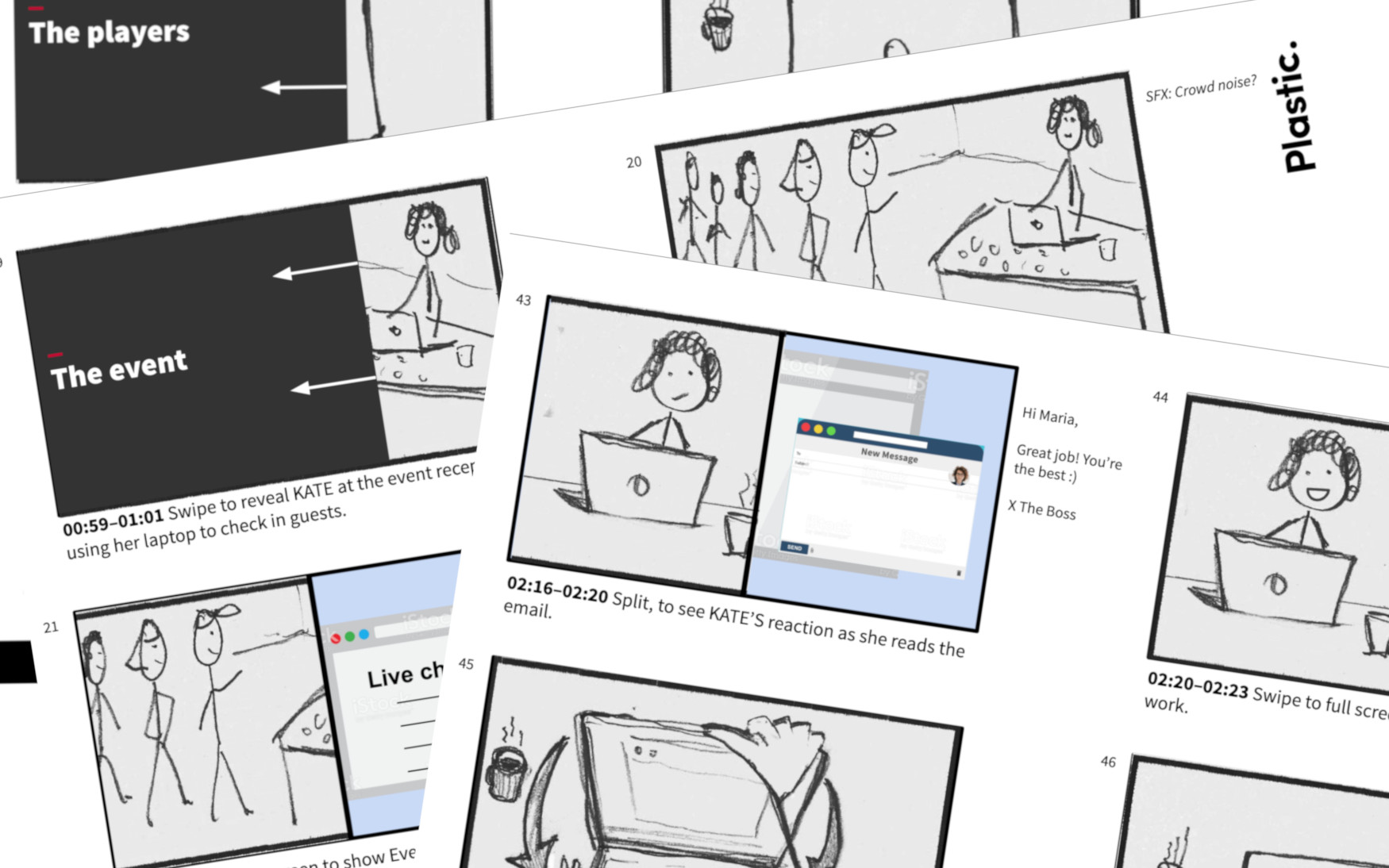 Events Manager launch video storyboard.