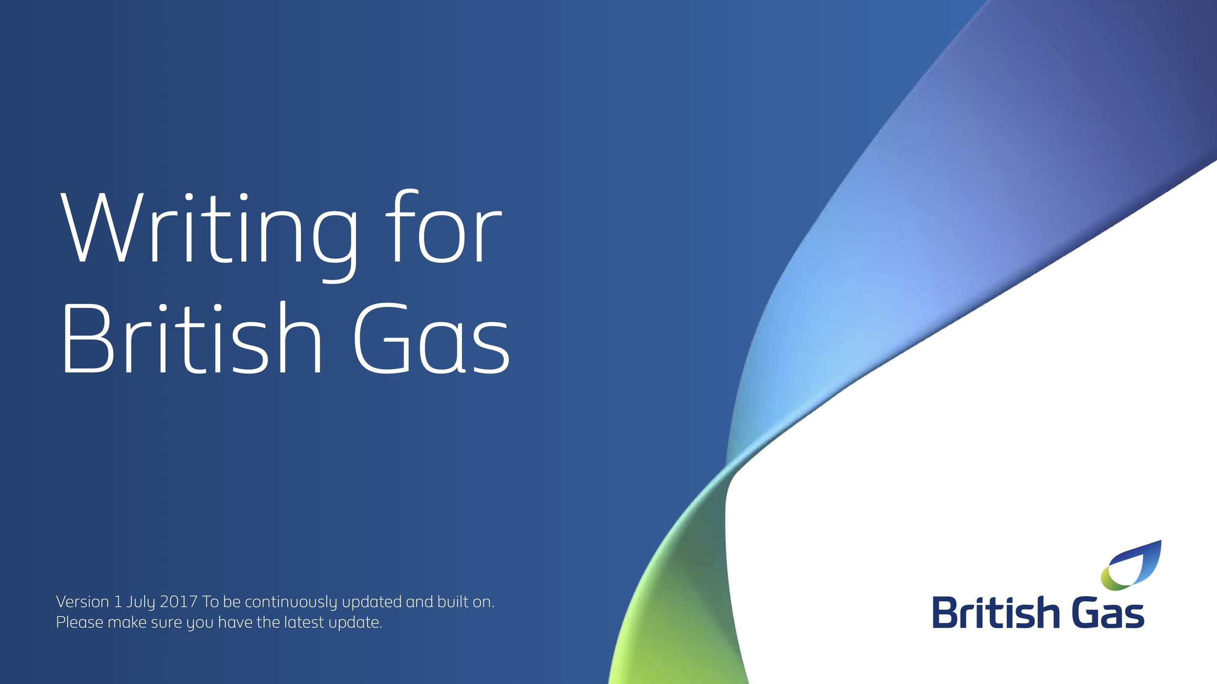 Cover page for British Gas tone of voice guidelines. The rest is confidential. Sorry.