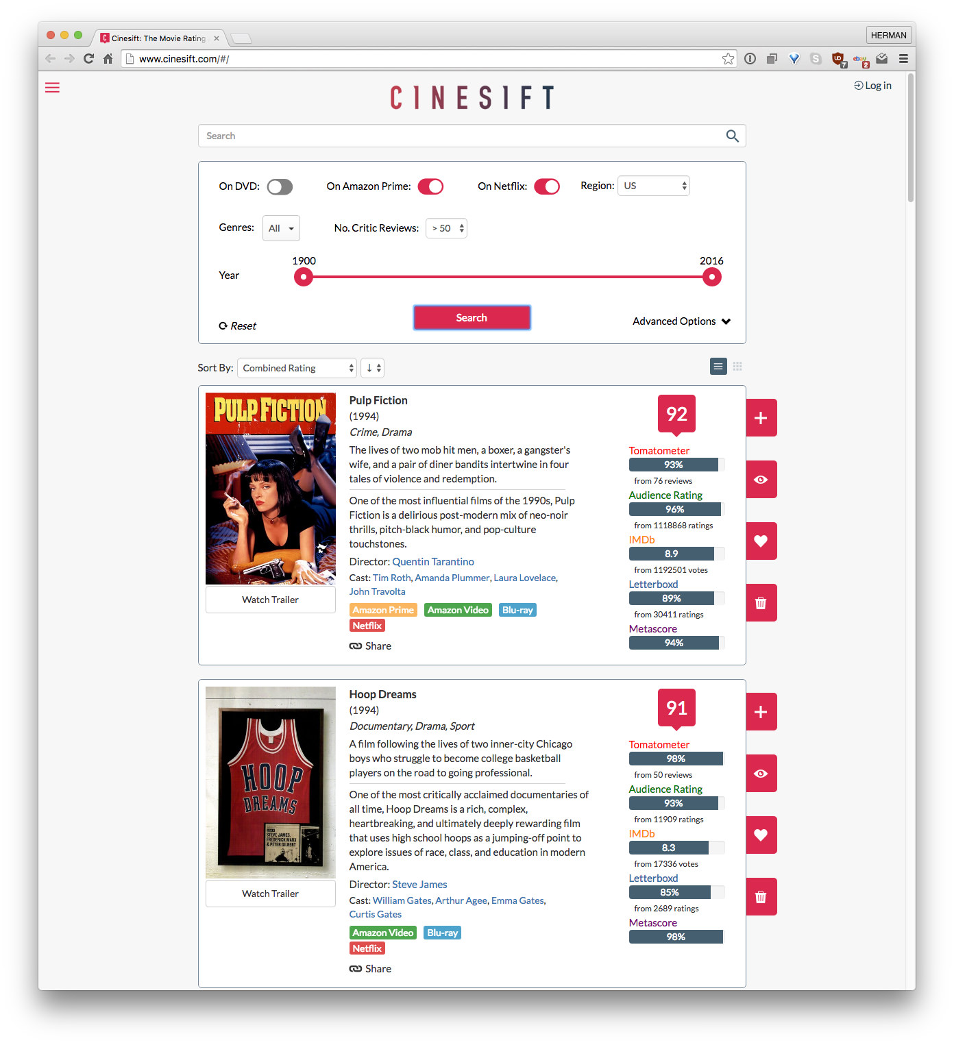 Cinesift combines popular movie site ratings with Amazon
