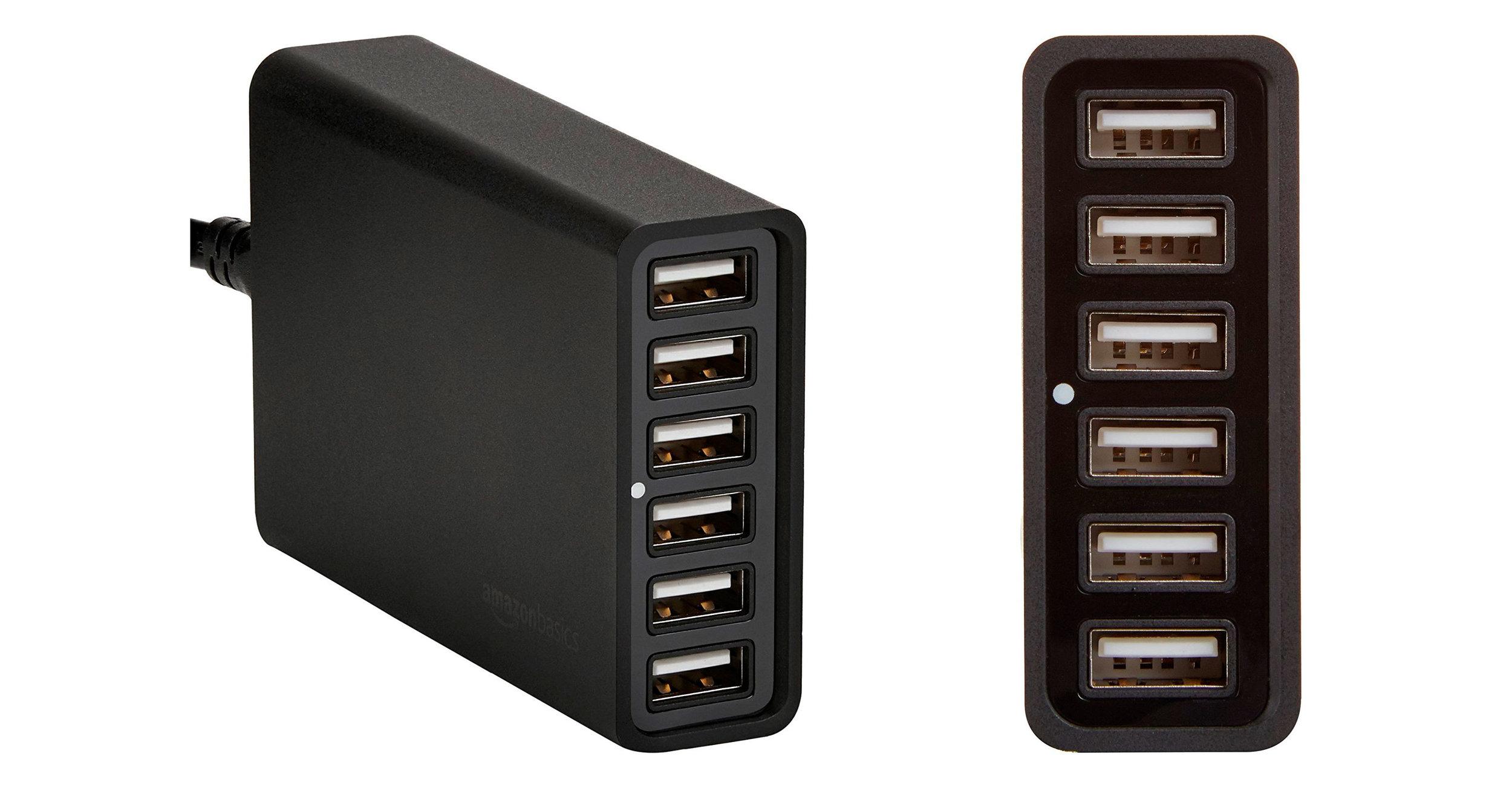 60W 6-port USB charger - Amazon Basics