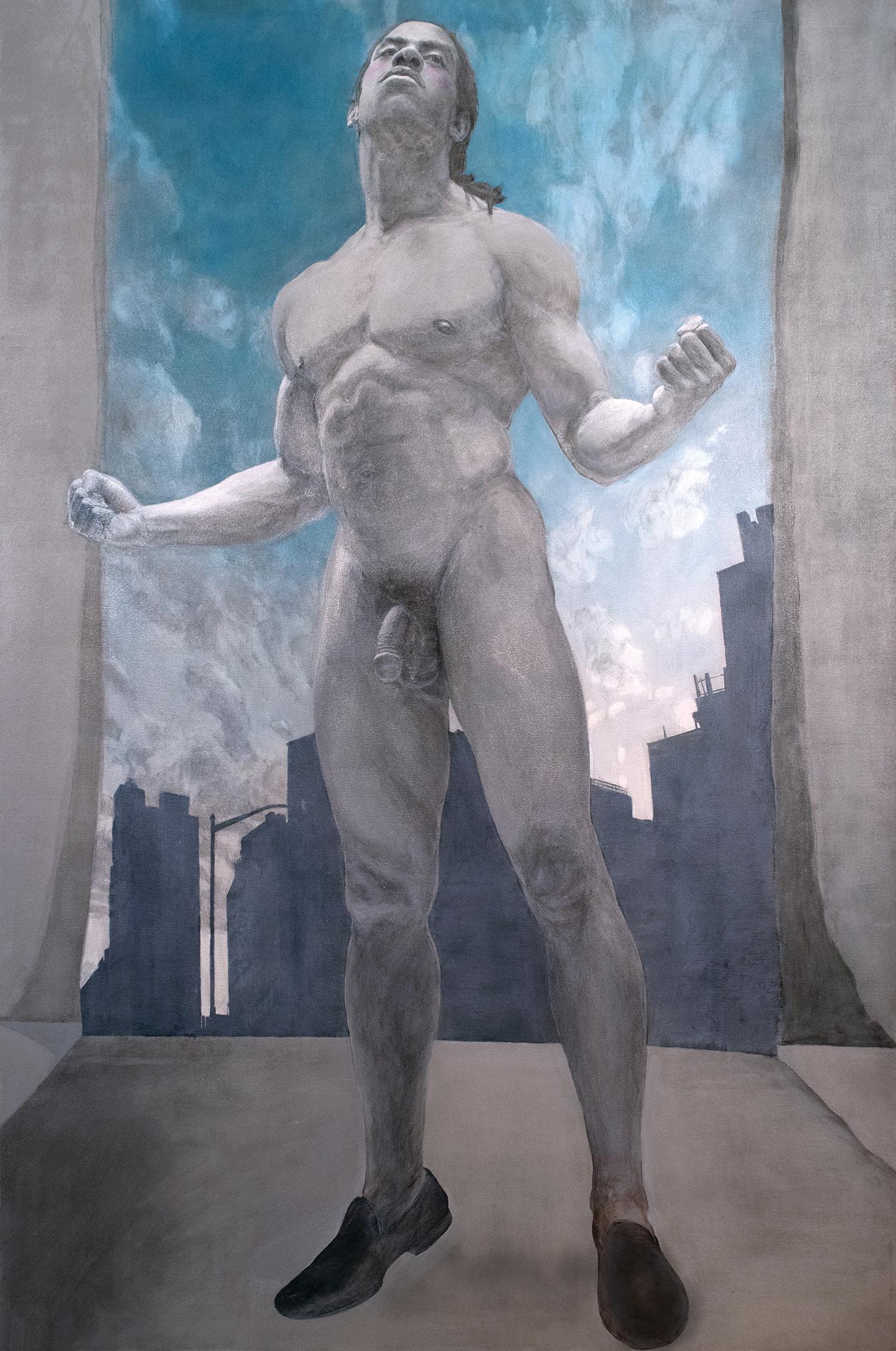 Étude Masculine Américaine, 2017, Acrylic on Canvas, 71 x 47 inches.
