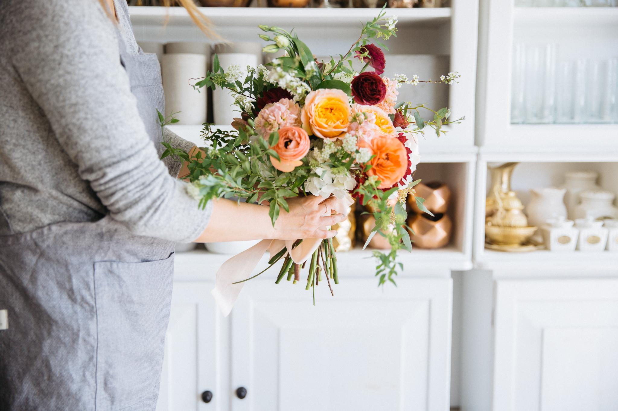 Milieu Florals Assembling Peach Bold Bouquet OC Portrait Event Photographer