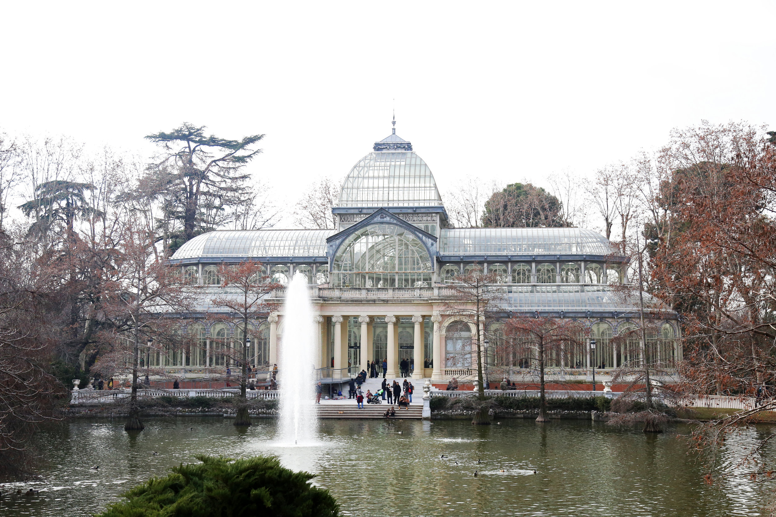 Palacio de Cristal -located located in Buen Retiro Park. It was built in 1887 to house exotic flora and fauna as part of an exhibition on the Philippines.