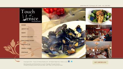 screen grab of website. Various food images