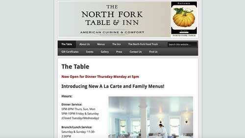 screen grab of website. text and resturant