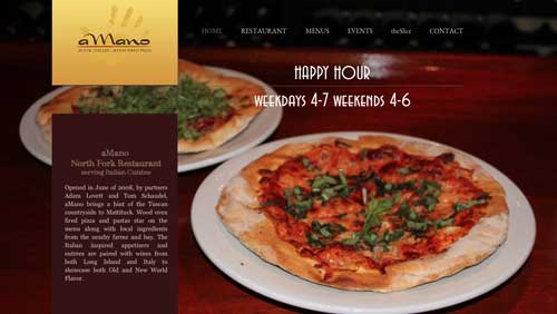 screen grab of website . Pizza and text