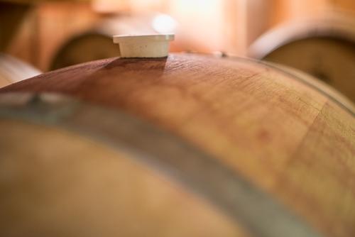 stopper in top of wine barrel