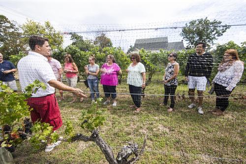 winemaker talking to people at a vineyard