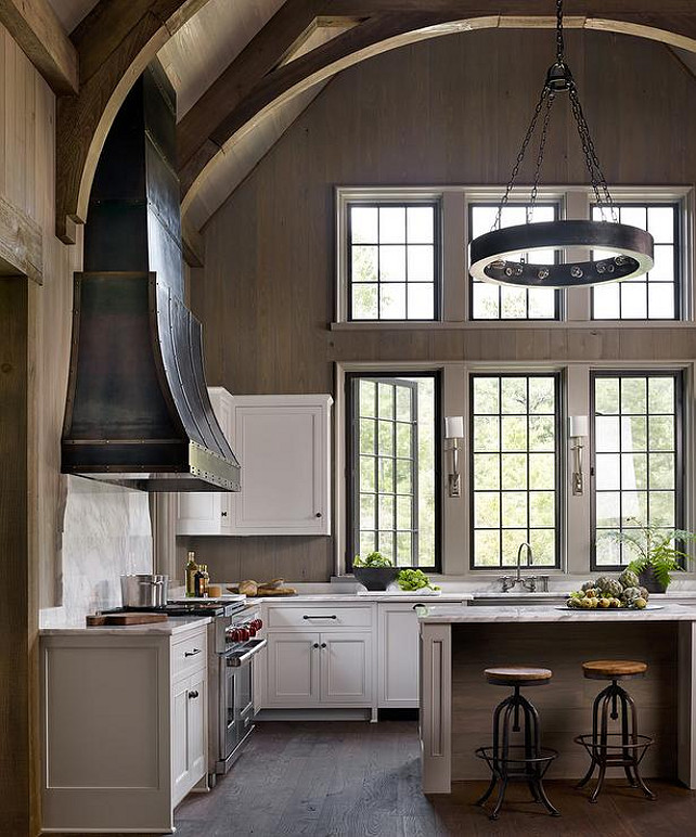 black and grey kitchen wood ceiling