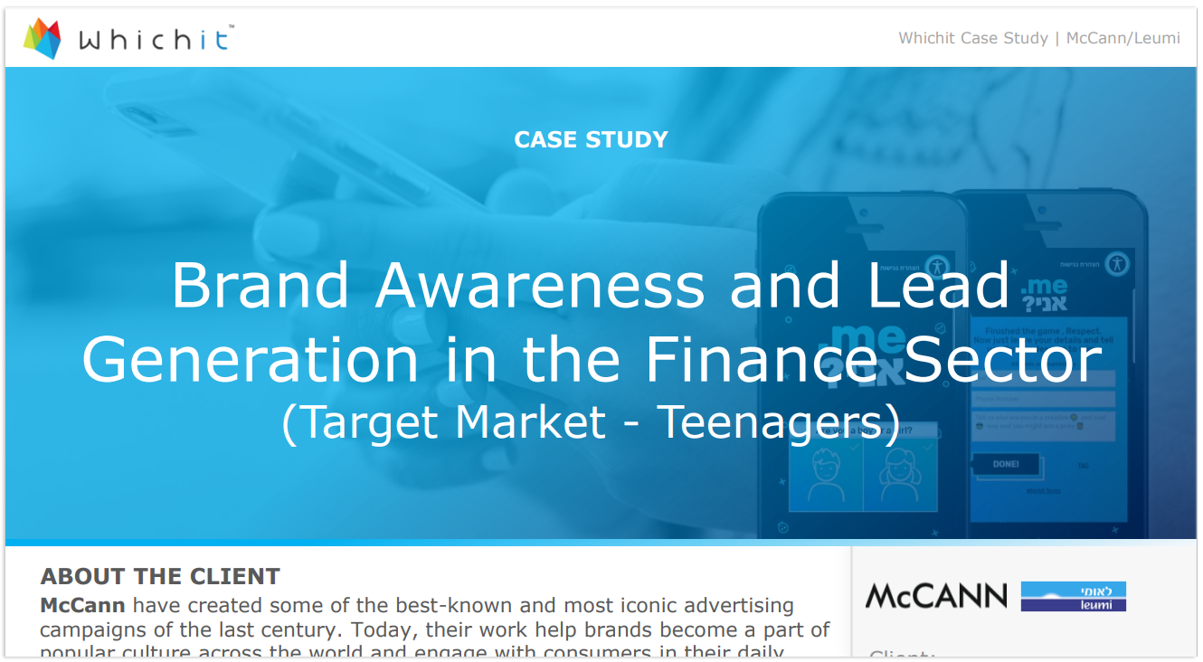 Discover how 'Leumi' delivered within 11 days over 98% Engagement Rate, 91,500 Total Interactions, and 95% Completion Rate, using Whichit for their campaign. Click to read full case study.