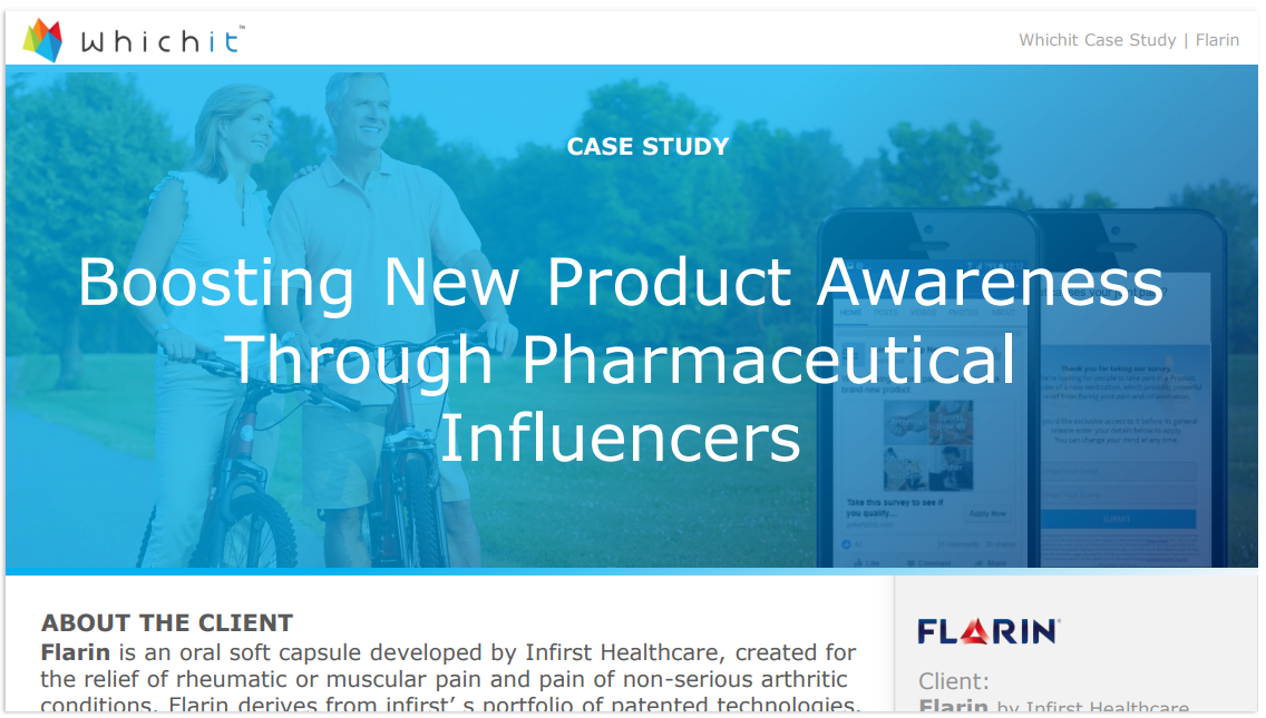 Flarin's Whichit Quiz delivered a phenomenal engagement rate on Facebook, X40 higher than the average benchmark of Health and Beauty Industry engagement. Click to read full case study.