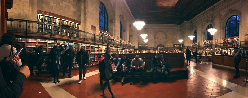 The inside of the New York Public Library