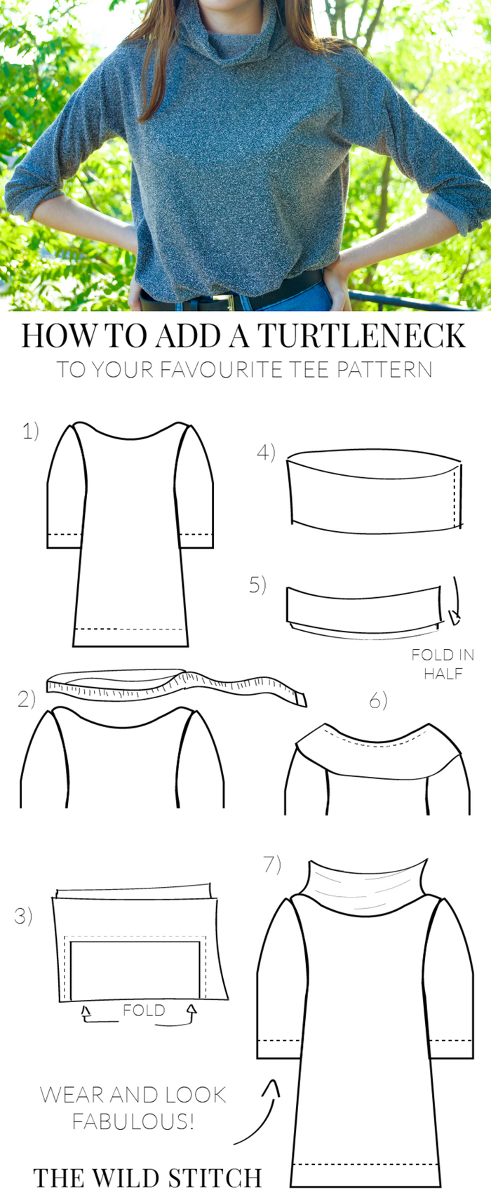 This easy tutorial will show you how to sew your own trendy turtleneck onto any tee shirt pattern you already have!