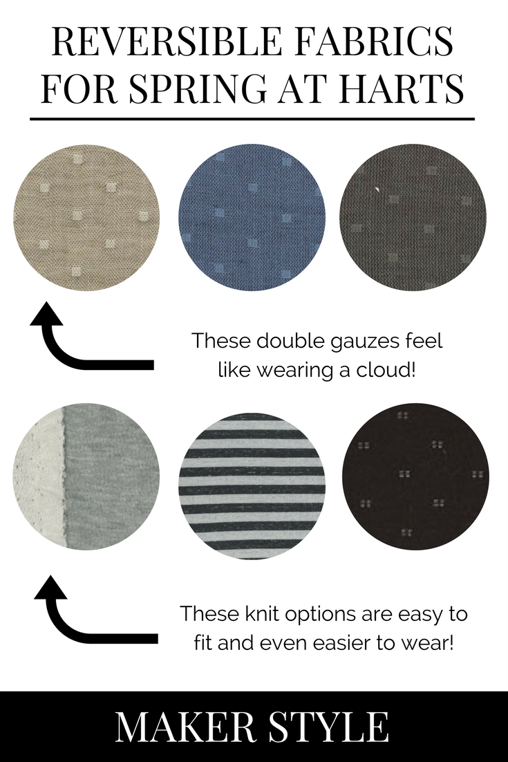 Looking to make something reversible? These options from Harts Fabric are incredible for spring!