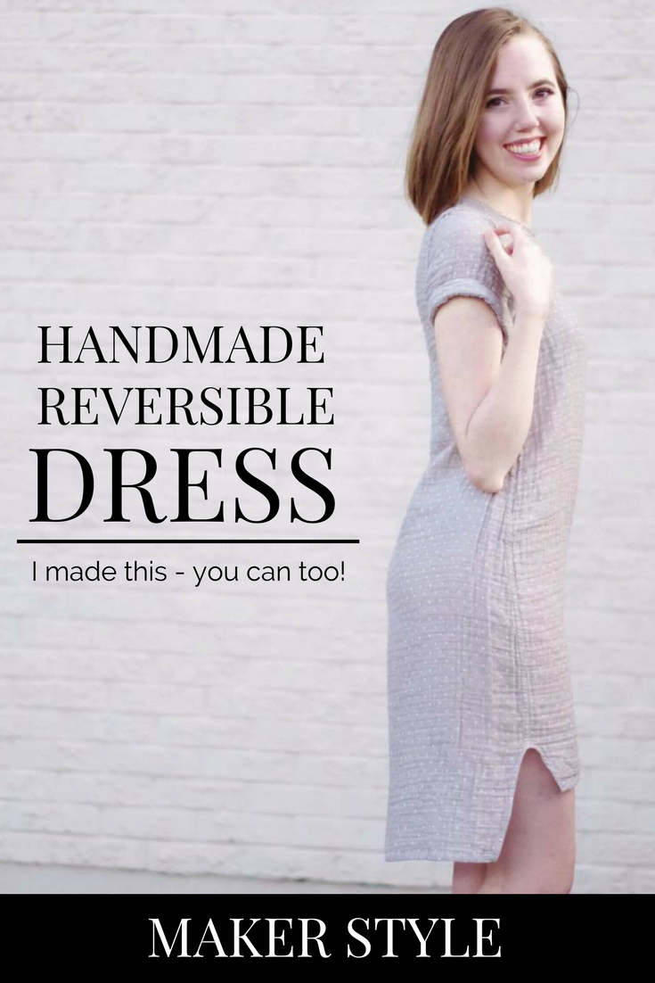 Find out how you can easily sew your own handmade reversible dress using the Named Inari Tee Dress pattern! Click through the post for more details on how you can sew this yourself.
