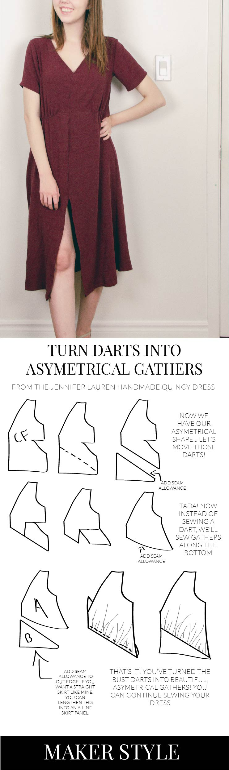 How to turn bust darts into gathers