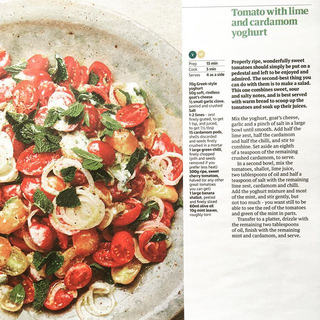 This @ottolenghi recipe of tomatoes with heaps of cardamom is AMAZING! It was in @guardianfeast a few weeks ago. I rarely look at a recipe and feel it's genuinely new territory. Food is mostly the same: anchovies with peppers; mackerel and sharp fruit; pork and fennel. But this was a proper surprise. It's good to be surprised. Definitely cook this salad. It's a beautiful curve-ball and now is the time to use those swollen ruby fruits #ottolenghi #tomatoes #summer #salad #cardamom