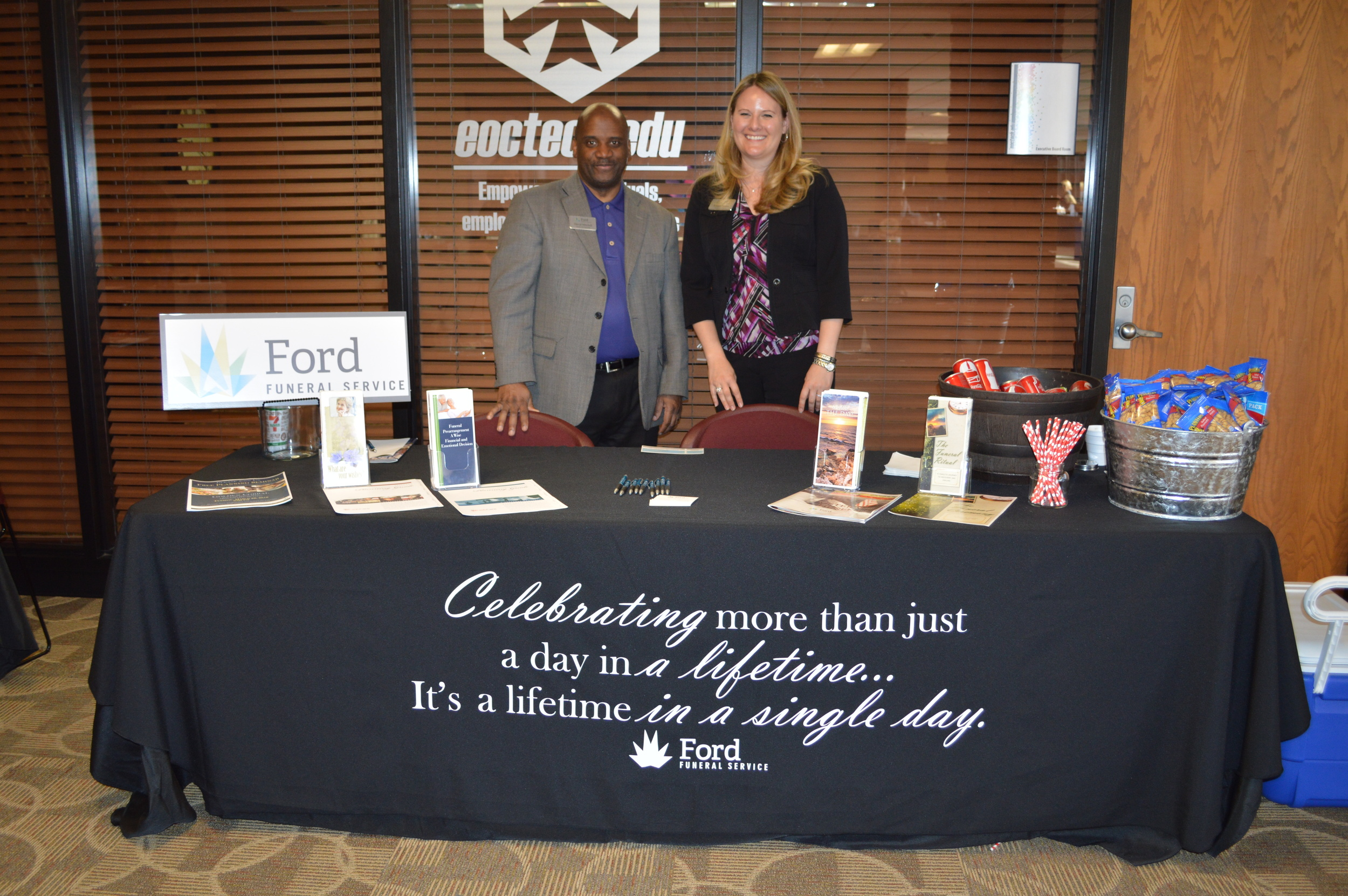 David Mitchell and Kristen Beulen with Ford Funeral Service located in Midwest City provide information to seniors and baby boomers about pre-planning services during the Prime of Your Life Expo.