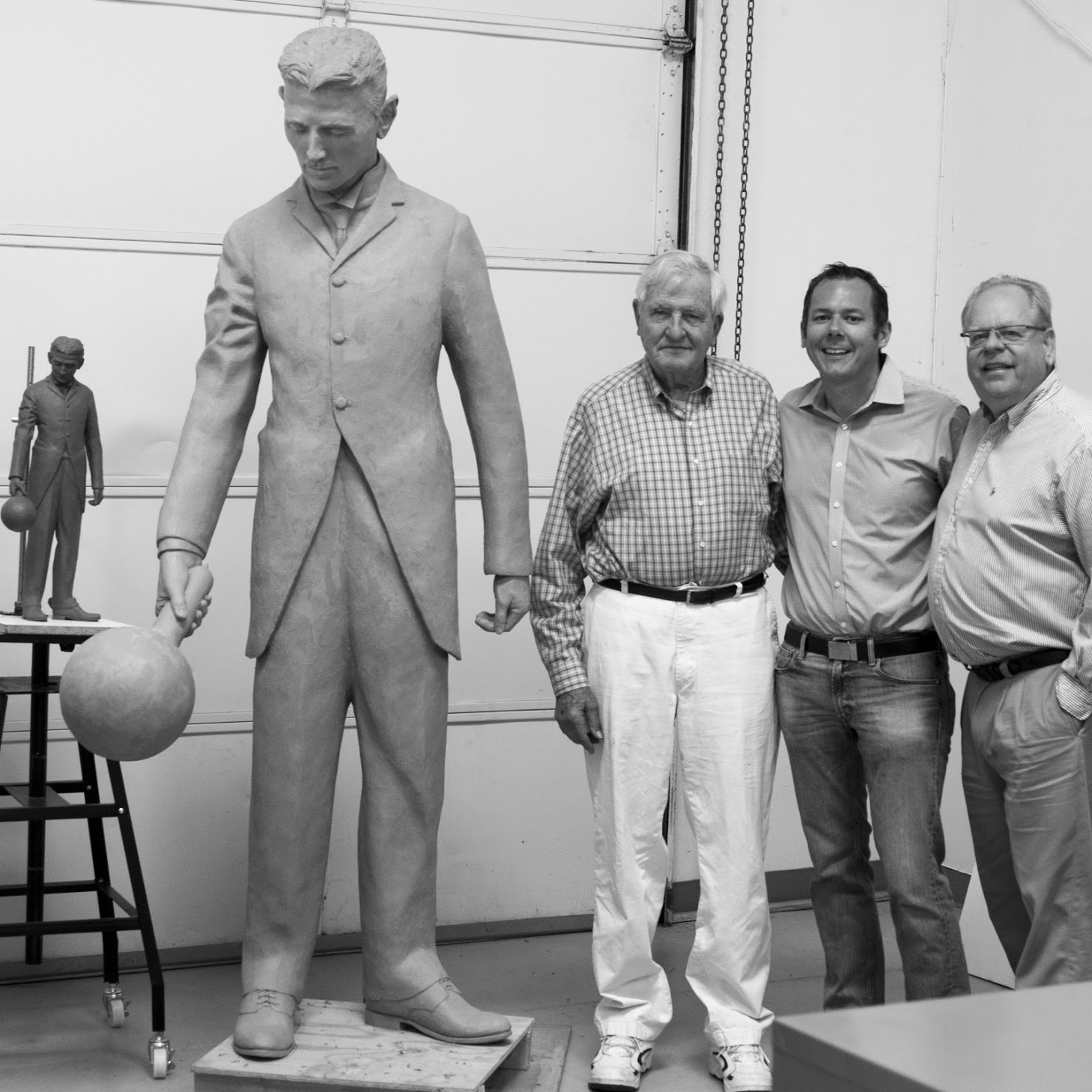 Landowner Harold Hohbach, organizer Dorrian Porter and Artist Terry Guyer prior to the casting.