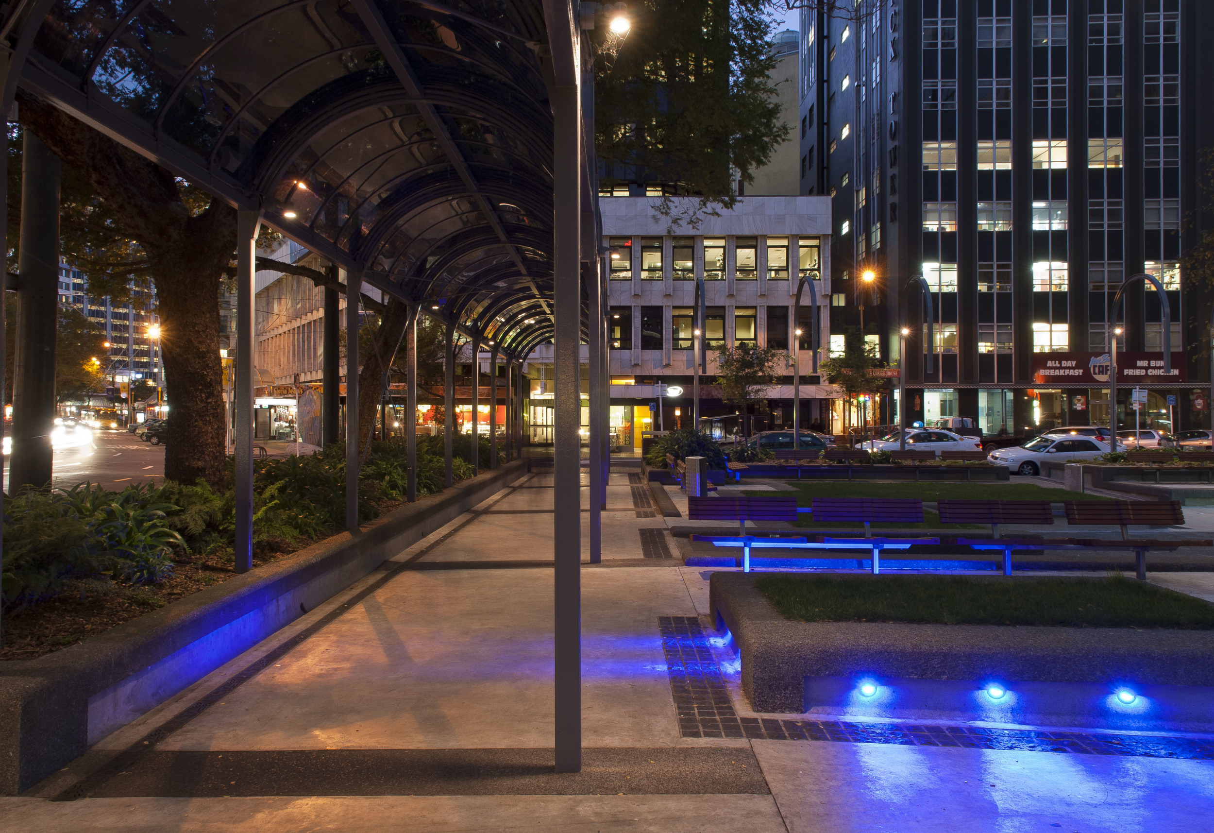 Midland Park, Wellington   S&T provided replacement lighting to encourage pedestrians to use the park at night and to highlight the seating areas,sculptures and river stone beds. .