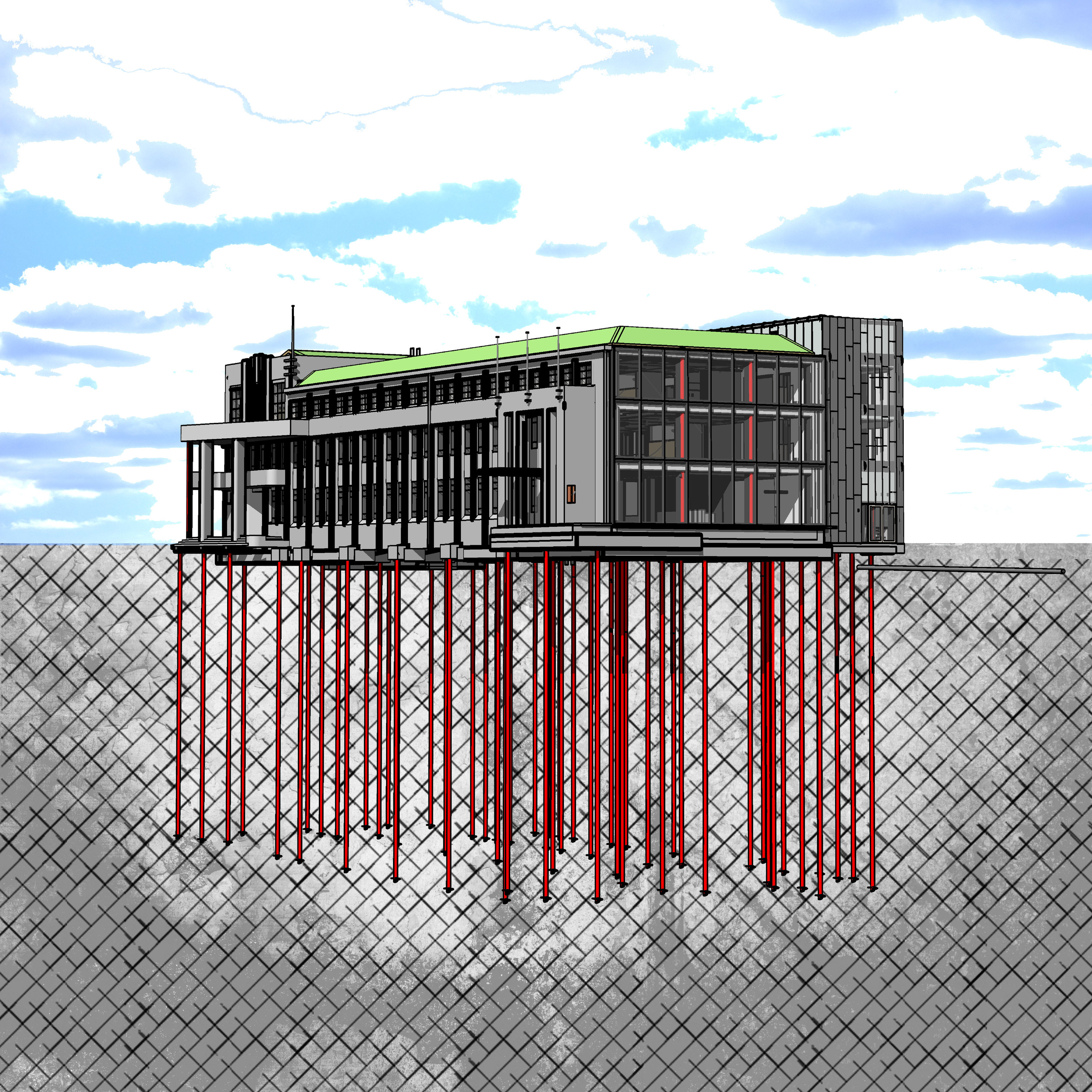 Hutt City Council   New Administration Building   S&T's use of ground source pipework located within structural piles known as thermal piles, was the first of its kind in New Zealand,