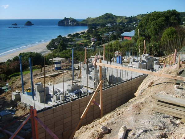 Hahei house under construction with gorgeous views in the background
