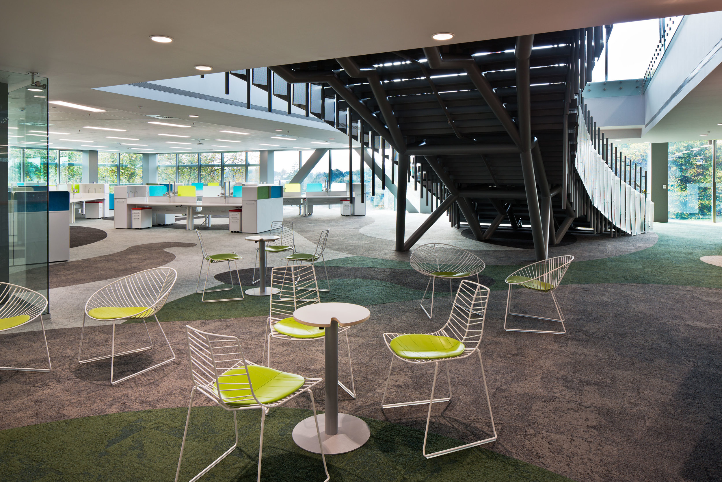 Mighty River Power -   Fitout   S&T created a fresh working space for staff who had previously been housed in three separate buildings. The design reflects the Mighty River Power Brand while maximising its location by the Waikato River.
