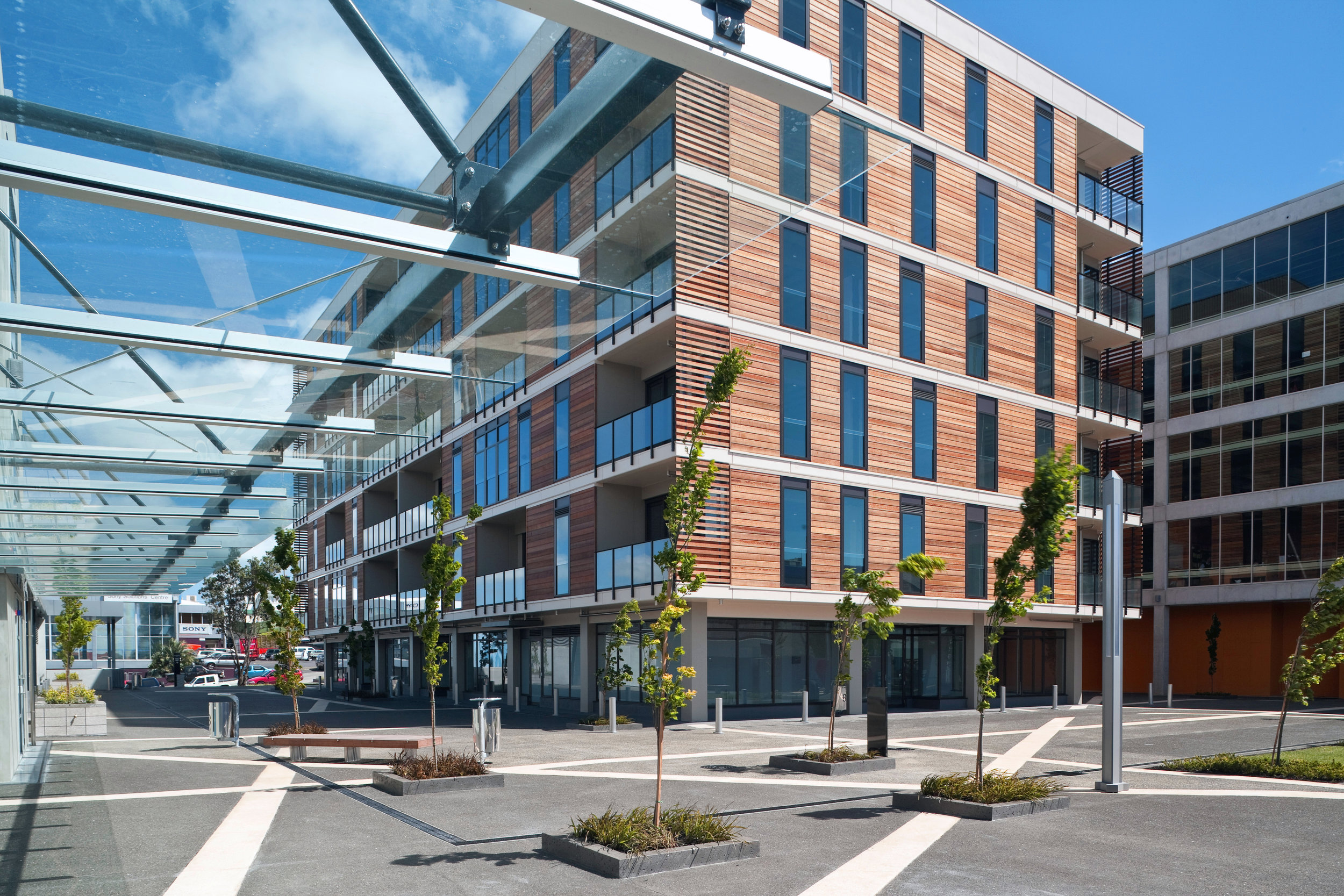 8 Nugent Street - Offices & Plaza   This large, mixed use development by S&T has created a new urban precinct in Newmarket, Auckland.  Pedestrians are also catered for within the plaza surrounded by apartments, retail and office spaces.