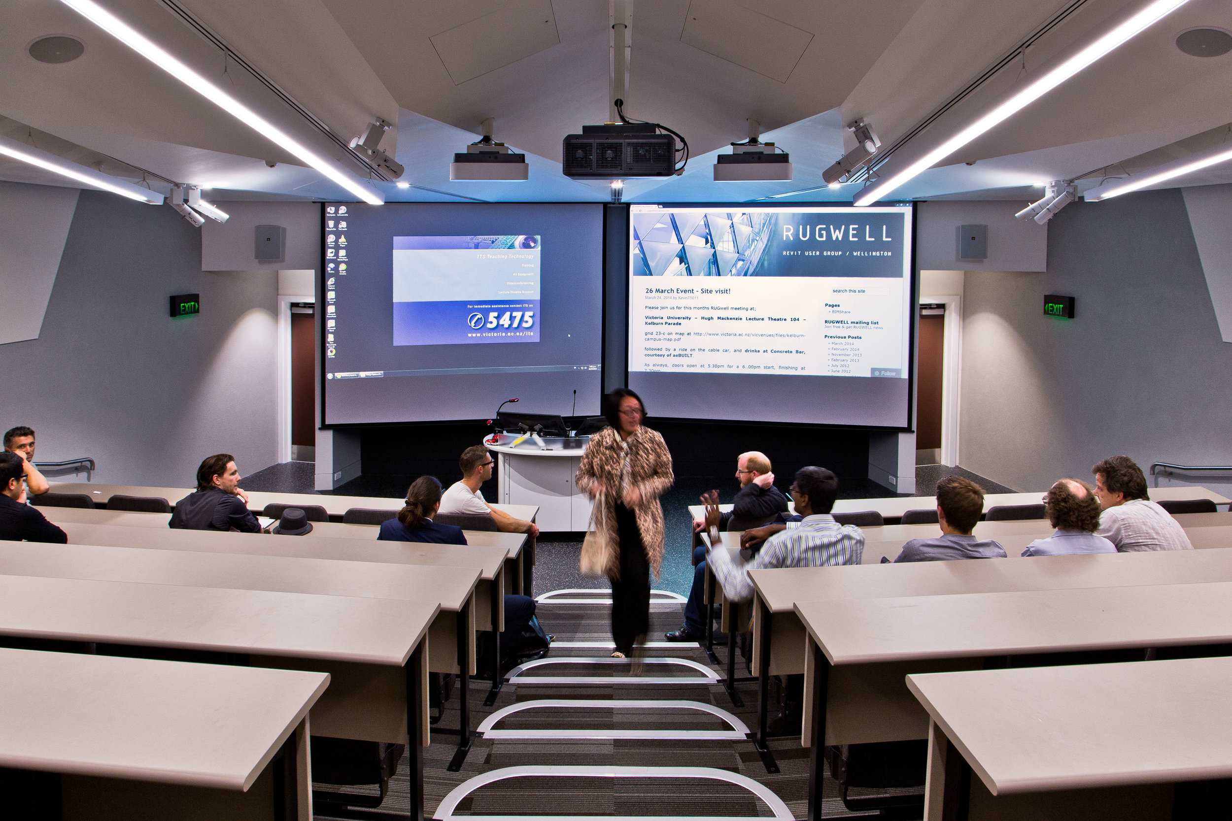 Hugh Mackenzie Lecture Theatres   S&T updated a number of lecture theatres at Victoria University to suit today's modern technology. S&T's knowledge of theatrical requirements extended the capabilities of each learning environment.