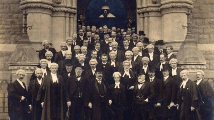 The opening of the Dunedin Law Courts in 1902. New Zealand's first female lawyer Ethel Benjamin is in the centre front. Source: Stuff 2018