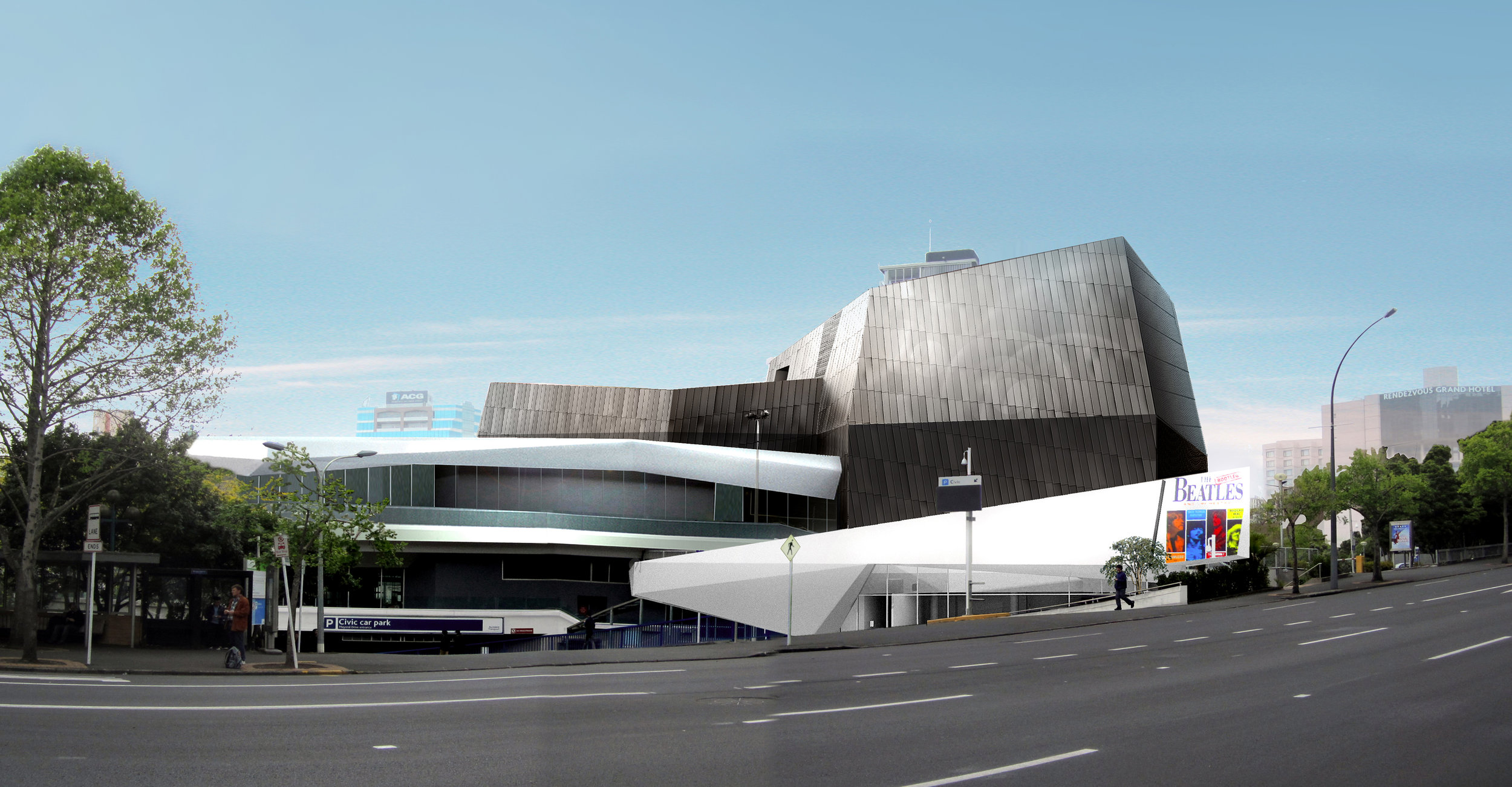 Aotea Centre Exterior Refurbishment Render_View from Mayoral Drive.jpg