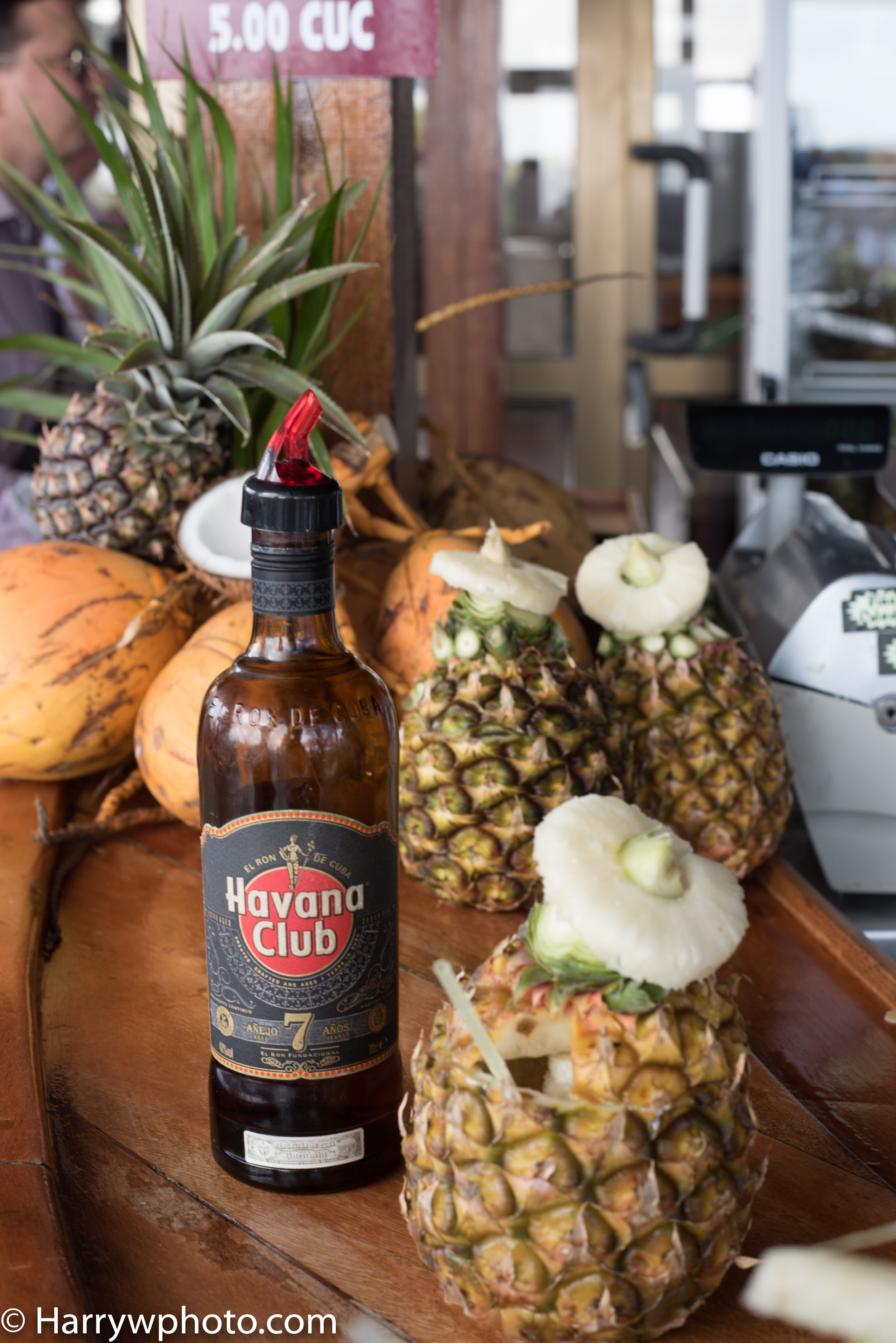 Havana club 7 year aged rum pina colada in a fresh pineapple