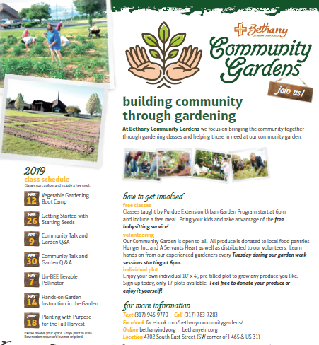 Bethany Lutheran Community Garden - Bethany Lutheran Community Garden is ready to deliver fresh produce to Hunger Inc. and a Servants Heart.This community garden is a the result of the following collaborating partners:-Purdue Extension-Indianapolis Neighborhood Resource Center-SoIndy Quality of Life, Health & Wellness Action Team-UIndy-Purdue Ext. Urban Agriculture Certificate program-Bethany Lutheran Church and community volunteersBethany Garden will host community work nights every Tuesday evening at 6pm (4702 South East Street, southwest portion of intersection of I-465 and U.S. 31). On every third Tuesday of each month, meals will be provided at 6:00 pm. All are welcome!Growing your own food is a great way to cut down your grocery bill and increase your health. The Bethany garden has been growing for less than 1 month and look what results they have already below..