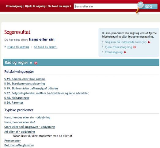 """Sproget.dk - søgning på """"hans eller sin"""""""